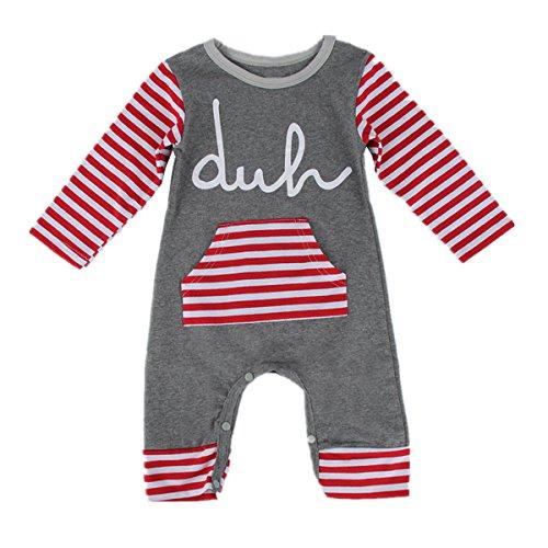 puseky Baby Jungen Mädchen (0-24 Monate) Spieler Red&White Stripe 6-9 Monate