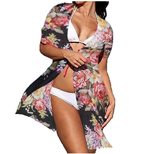 Schwarz Floral Baumwolle Verschleierung, Sheer Kaftan/Kimono Bademantel Wrap für Bikini/Bademoden, Strand/, Holiday/Honeymoon/Hen Weekend/SPA Day, Mehrfarbig Fabulous Sheer