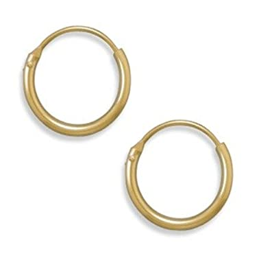 Extra Small 10mm Sterling Silver Hoop Earrings with Gold Plating