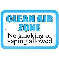 bienternary Placa decorativa de metal con texto en inglés Clean Air Zone No Smoking or Vaping, 9 x 6 letreros de aluminio