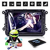 "D-NOBLE Autoradio Sistema Stereo GPS Car DVD Player 8"" HD Touch Screen Bluetooth Android 6.0 64Bit Quadcore 1GB/16GB Auto Navigazione Sistemi Lettori Audio MP3 Car Entertainment Multimedia with AM/FM/RDS AUX WiFi Mirror Link 1080P for Volkswagen VW Golf Polo Touran PASSAT Beetle"