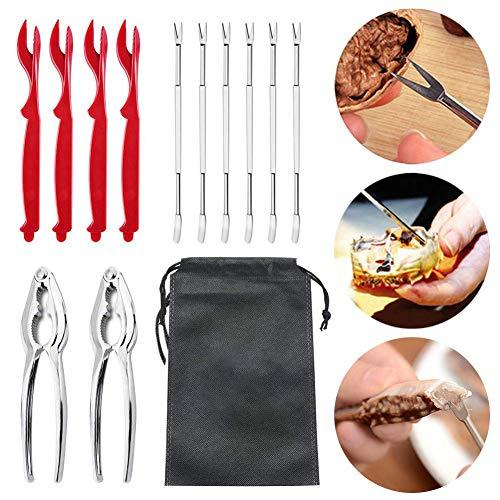 CWeep Seafood Tools Set Including Crab Crackers Forks Opener Shellfish Lobster Leg Sheller Nut Cracker Set (13pack) - Shell Lobster Fork