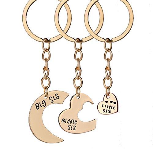 Skyeye 3 Stück Gute Schwestern lieben Auto Schlüsselanhänger Anhänger Geschenk Schlüsselring Schlüssel Anhänger Keychain Legierung Gold