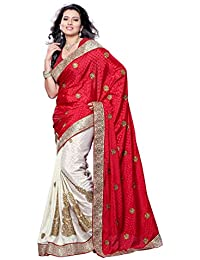 Womanista Women's Embroidered Faux Crepe Saree with Blouse Piece (FS6014-Red & White-Free Size)