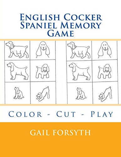 English Cocker Spaniel Memory Game: Color, Cut,
