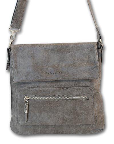 3423 Schultertasche Used Look Handtasche Umhängetasche Shopper Tasche Bag Street (Grau) (Tasche Leder Grau)