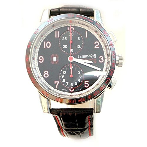 Men Eberhard 31056CP Automatic Steel quandrante Black Leather Strap Watch