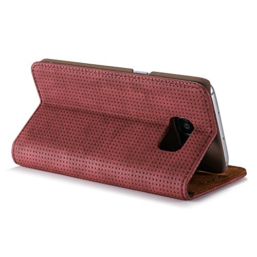 Retro Matte Breatheable Air-Mesh PU-Leder Folio Stand Brieftasche Case Cover mit Kickstand Card Slots für Samsung Galaxy S7 ( Color : Yellow ) Red