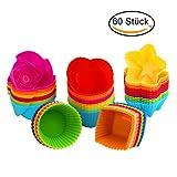 Silikon Backformen KYG 60 Stück Muffinförchen für Muffin Cupcake und Brownie wiederverwendbareFörmchen aus hochwertigem Silikon mit 5 Formen in 6