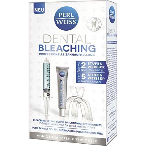Perl Weiss Dental Bleaching professionelle Zahnaufhellung 1 Set bis zu 2 Stufen weißer nach 15 Min., Bleaching-Gel mit neuer, patentierter Technologie*, 2-Phasen Wirkformel für sofort weißere Zähne, + -
