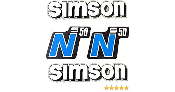 Set Aufkleber Simson S50 N Blau Für Tank Und Seitendeckel Alte Form Auto