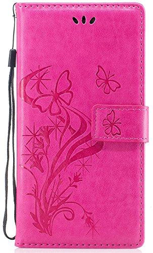Iphone 7 Plus Coque silicone, Iphone 7 Plus Accessoire, Coque Iphone 7 Plus silicone, Nnopbeclik® Mode Wallet/Portefeuille en Bonne Qualité PU Cuir Housse (5.5 Pouce) Papillon et Fleur de Gaufrage Sty rose