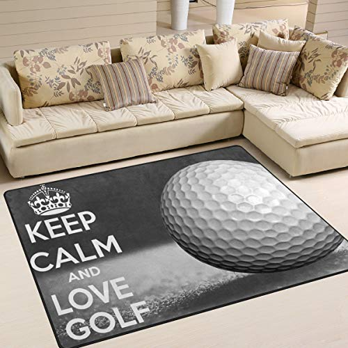 Xianghefu Zone Rugs 5 '7,6 cm X4' (160 x 121,9 cm) Keep Calm Balle de golf Sport Paillasson...
