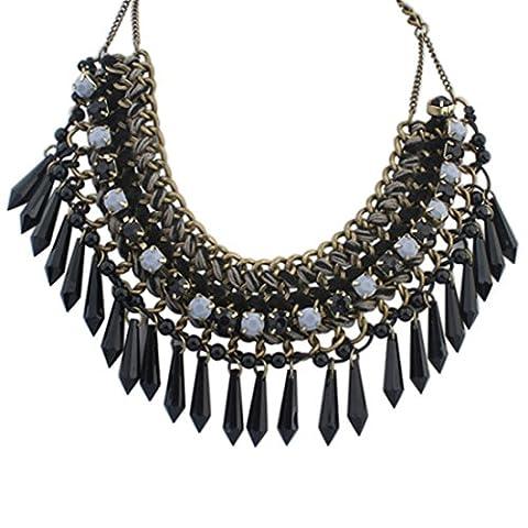 Tribale Anciennes Femmes De Perles De Resine D'Or La Mode Collier Chaude Nouveau Collier De Dossard Chunky
