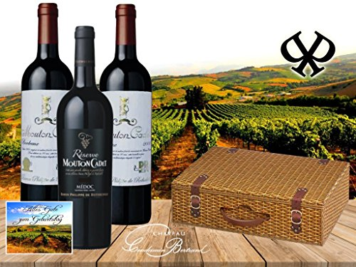Super Kennenlernpaket Bordeaux Rotwein von Baron Philippe de Rotschild - 1 Flasche Réserve Mouton Cadet Médoc AOC und 2 Flaschen Mouton Cadet 'Edition Vintage 'Retro' in der wunderschönen Geschenkverpackung 'Weidenkorb' in Weidenoptik