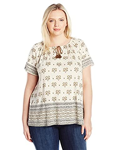 Lucky Brand womens Plus Size Border Print Top cap_sleeve T-Shirt  - multi -