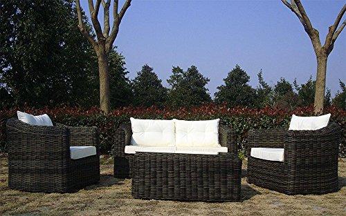 Baidani Gartenmöbel-Sets 10a00009 Designer Rattan Essgruppe Pearl, Tisch – mit Glasplatte, 2-er-Sofa, Sessel, braun - 4