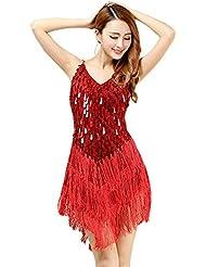 54f7f7f06e BOZEVON Mujer Sin Mangas V Cuello Vestido Danza Latino Traje Lentejuelas  Borla Baile Tango Salsa Deportivo
