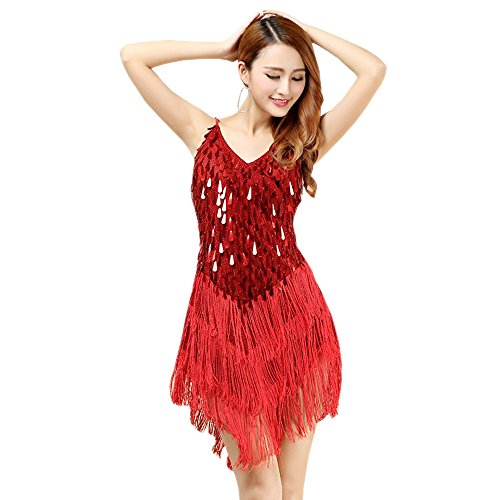 KINDOYO Damen Ärmellos V Ausschnitt Pailletten Quasten Jazz Latein Tanz Kleider Rumba Salsa Samba Tango Tanzkostüme, Rot, One Size