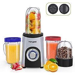 Blender Smoothie, Homgeek Mini Blender, Mixeur Multifonction avec 4 Bouteilles, 350W, 2 Vitesses, Appareil à Smoothie avec 2 types de lame, sans BPA, 13 pièces sets