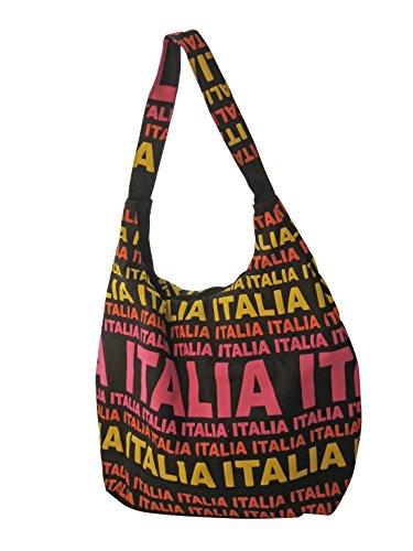 Fabbro Teresa Borsa Piccola SCRITTE COLORATE ITALIA CANVAS SCRITTE ROSA/GIALLE ITALIA CANVAS
