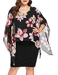 b88d537f1f6c08 übergröße Kleider Damen Kolylong® Frauen Elegant Rundhals Blumen Bleistift  kleid Kurzarm Vintage Chiffon Business Kleid Poncho Kleid…