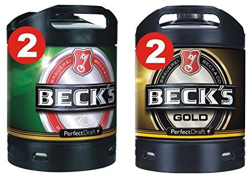 2 x Becks Pils + 2 x Becks Gold Perfect Draft 6 Liter Fass 4,9{119b14c16e115077177cd5edeab4513ffe597c26bcee5f1013589f3251b55b19} vol.