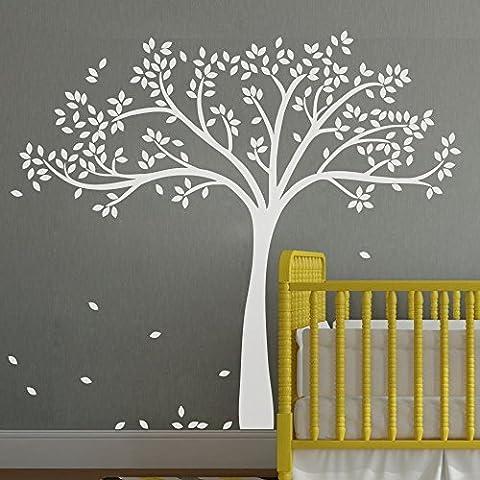 mairgwall monocromático Descenso árbol adhesivo de pared, Extended Árbol Adhesivo de papel con Flying hojas 78
