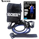 Burgeon SICHERTM Latex Resistance Tube/ Band with Foam Handles, Door Anchor for Gym Workouts for Men and Women with Exercise Guide