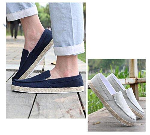 Beauqueen Scarpe da Tennis Sneakers in Lino Man's Slip-Ons Leggero Guida Casual Scarpe Casuali Uomini Breathable Outsoles UE 39-44 Grey