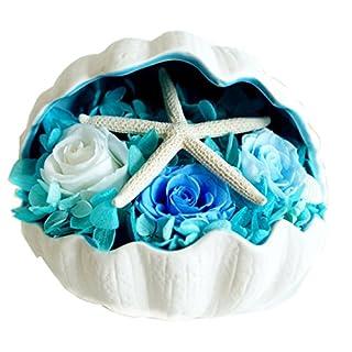 A-szcxtop Eternal Blume mit Seestern auf Conch Creative Geschenk Handarbeit erhalten Blumen Wohnzimmer Dekoration Romantische Geschenk violett blau