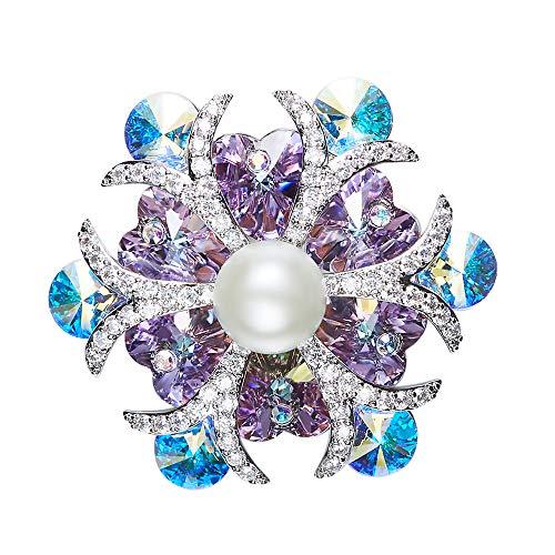 Peggy Gu schmuck Frauen blühen Blumen Perle Brosche lila mit blauen Kristall Rhinestones Clip Pin für Cocktailparty Hochzeitsstrauß kostüm - Accessoire