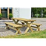 stabile holz sitzgruppe garten garnitur 1 tisch 2 b nke. Black Bedroom Furniture Sets. Home Design Ideas