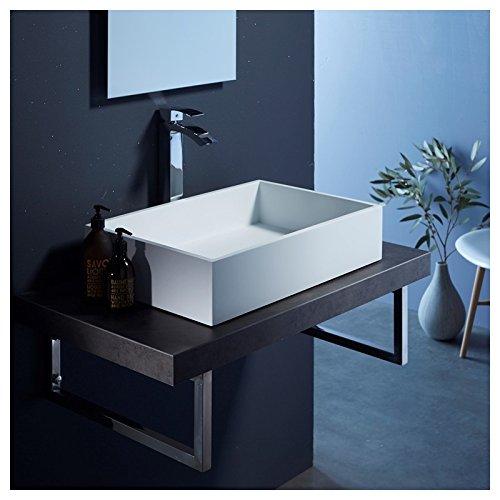 Vasque à poser rectangulaire 60x40 blanc mat