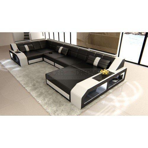 Couchgarnitur Arezzo U-Form schwarz - weiss Designer Wohnlandschaft mit LED