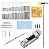 375 kits de herramientas de reparación de relojes | removedor de eslabones de correa de reloj, barras de resorte, soporte, martillo de doble cabeza, punzones, pasadores de resorte, paño de limpieza