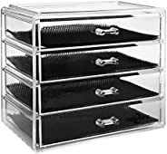 ISWEES Makeup Organizer 4 Tier Clear Acrylic Cosmetic Storage Insert Holder Make Up Cube Organiser Jewelry Wat