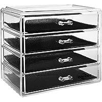 Boîte à bijoux, ISWEES Cosmétiques Organisateur Grand Rangement 4 niveaux Maquillage - 4 tiroirs et séparateurs amovibles - Acrylique (4 Niveaux - 4 Tiroirs)