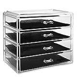 ISWEES Boîte à Bijoux, Cosmétiques Organisateur Grand Rangement 4 Niveaux Maquillage - 4 tiroirs et séparateurs Amovibles - Acrylique (4 Niveaux - 4 Tiroirs)