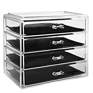Makeup Organizer,4 Tier Clear Acrylic Cosmetic Storage Insert Holder Make Up Cube Organiser Jewelry Watches Display Box With 4 Large Long Drawers Space- Saving & Removable Divider