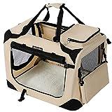 FEANDREA Hundebox, Transportbox für Auto, Hundetransportbox, Faltbare Katzenbox aus Oxford-Gewebe, M, 60 x 40 x 40 cm, beige PDC60W