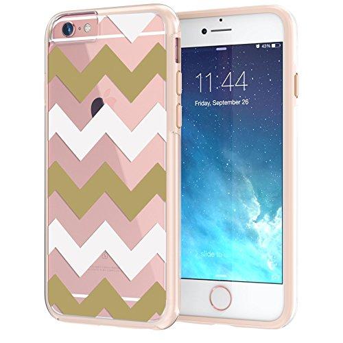 """iPhone 6 6s Plus Case 5.5"""", Hülle True Color® Chevron Waves Gedruckt auf freier transparenter Hybrid -Abdeckung Hard + Soft Slim dünnen haltbaren Schutzschutz aus Gummi TPU Stoßabdeckung - Pink Breite Gold"""