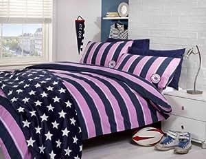 Yorkshire Linen Harvard Parure de lit avec housse de couette pour lit simple 1 personne Motif rayures Rose
