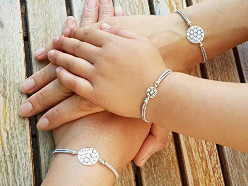 Mutter Tochter Oma Lebensblume Stretch-Armband Set 925 Silber