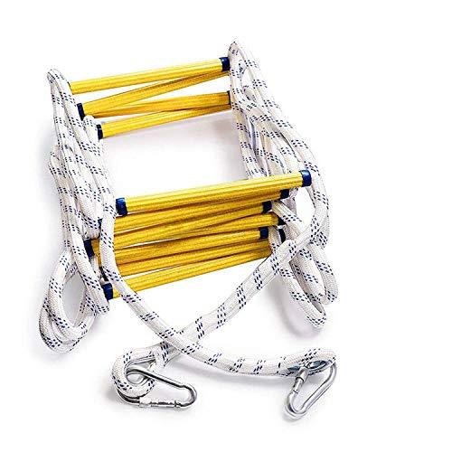 JHKJ Tragbare Rettungsleiter mit Mehreren Funktionen, Rettungsleiter 12 Meter (39.4FT) Seilzugleiter - feuerhemmend - mit Haken.
