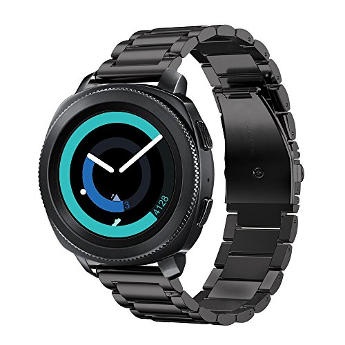 Fintie Armband für Galaxy Watch 42mm & Gear Sport & Gear S2 Classic - Edelstahl Metall Uhrenarmband Ersatzband mit Doppelt Faltschließe
