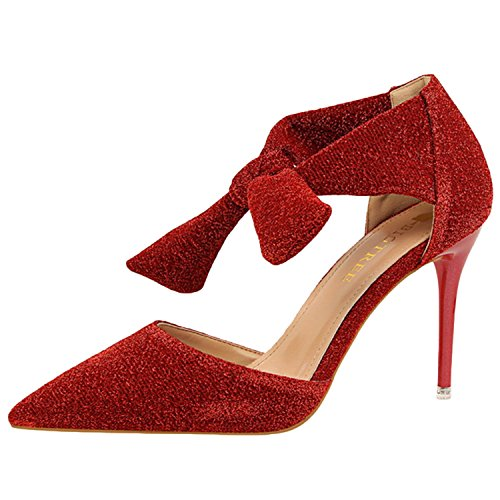 Oasap Women's Pointed Toe Stiletto Heels Bow Glitter Sandals Red