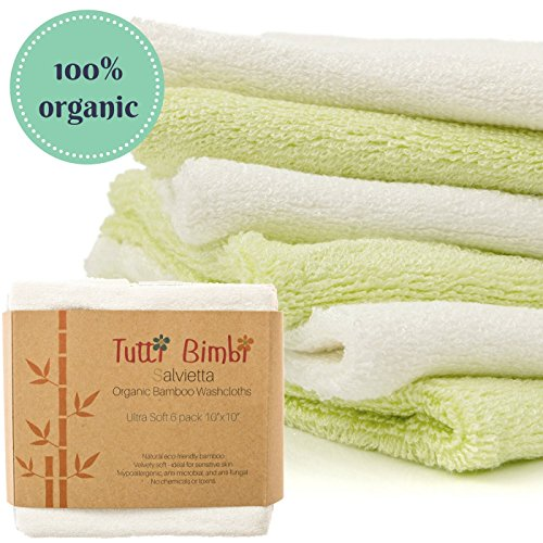 TUTTI BIMBI Luxury SOFT Baby Washcloths – Mom Approved 6 pack 10″x10″ Larger Organic Bamboo Mini Towels – Premium Reusable Wipes for Sensitive Skin – Baby Shower/Registry Gift 51QMuMF5JEL