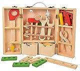 Toolbox Werkzeugkoffer Werkzeugset Holz Werkzeug holzerner Spielzeug für Kinder