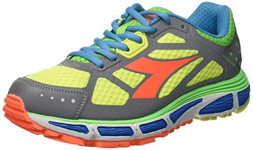 Diadora N-4100-2 Bright - Zapatillas de Running de Material Sintético para Hombre (C3612 Argento DD/Giallo Fluo) 42 1/2